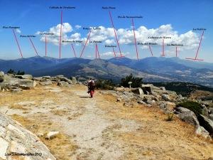 Vista con todos los picos identificados desde Cabeza Lijar
